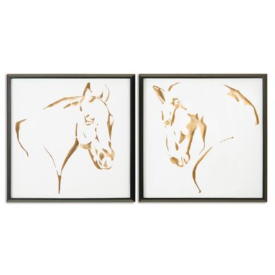 Uttermost Golden Horses 25.5-Inch Square Wall Décor (Set of 2)