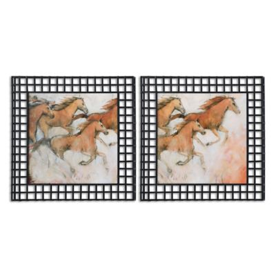 Uttermost Horse Fresco 32-Inch Square Wall Décor (Set of 2)