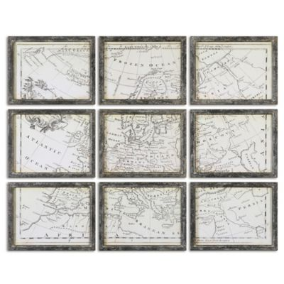 Uttermost Map of Europe Grid Vintage Wall Art (Set of 9)