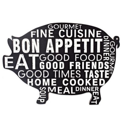 Bon Appetit Pig Wall Plaque in Black