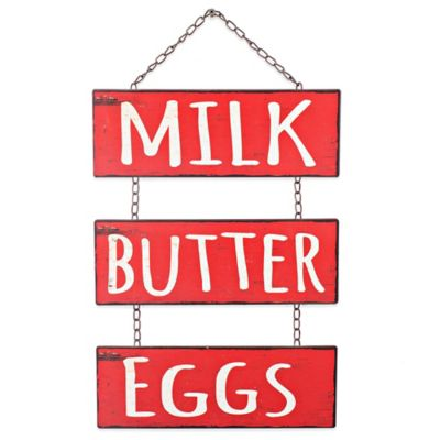 Milk Butter Eggs Dangling Framed Wall Arts Metal Wall Plaque