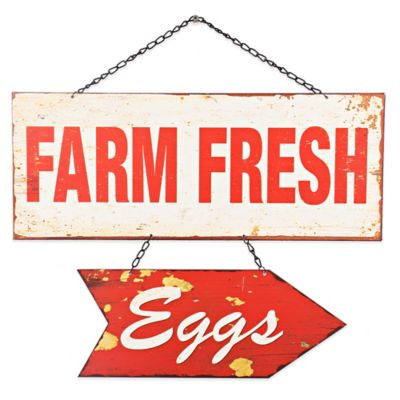 """Farm Fresh Eggs"" Hanging Metal Wall Art"