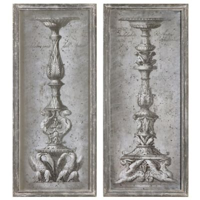 Uttermost Antique Ornate Candlesticks Vintage Art (Set of 2)