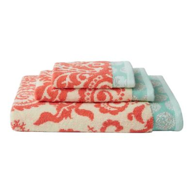 Amy Butler for Welspun Woodfern 3-Piece Bath Towel Set in Orange/White