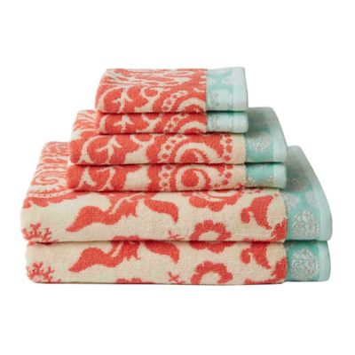 Amy Butler for Welspun Bucharest 6-Piece Bath Towel Set in Grey/White
