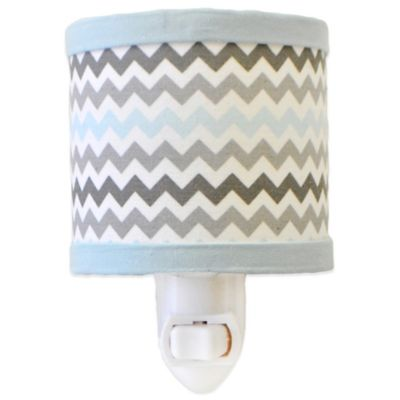 My Baby Sam Chevron Baby Nightlight in Aqua/Grey