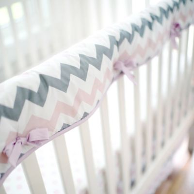 My Baby Sam Chevron Baby Crib Rail Cover in Pink/Grey