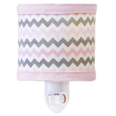 My Baby Sam Chevron Baby Nightlight in Pink/Grey