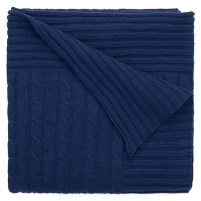 Elegant Baby® Classic Cable Knit Blanket in Navy