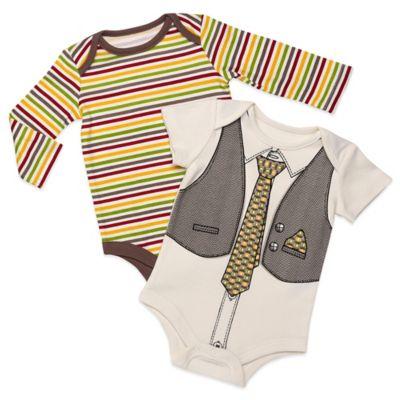 Baby Starters® Size 3M 2-Pack Stripe/Vest Bodysuits in Beige/Ivory
