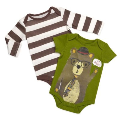 Baby Starters® Size 9M 2-Pack Stripe/Bear Bodysuits in Brown/Green