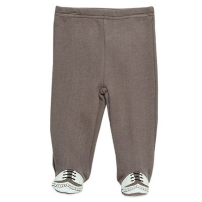 Baby Starters Size 3M French Terry Footed Pant with Faux Wingtip Feet in Taupe