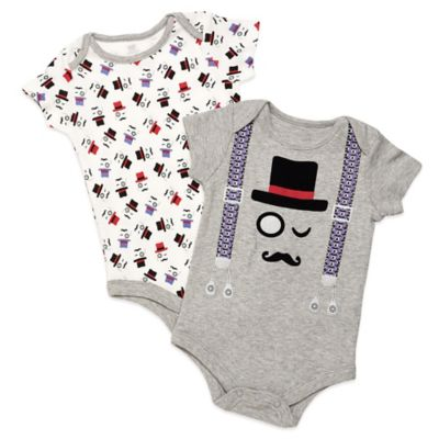 Baby Starters® Size 9M 2-Pack Top Hat Short Sleeve Bodysuits in Grey/Red