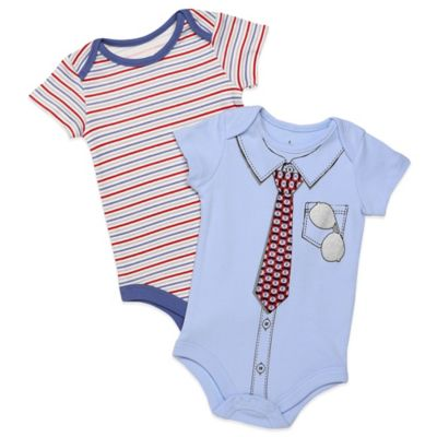 Baby Starters® Size 9M 2-Pack Stripe/Tie Short Sleeve Bodysuits in Blue/Red