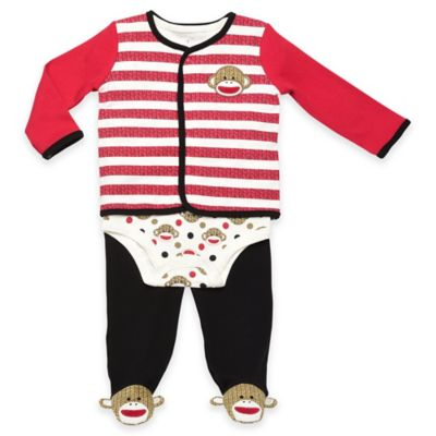 Baby Starters® Sock Monkey Size 3M 3-Piece Cardigan, Bodysuit, and Pant Take Me Home Set