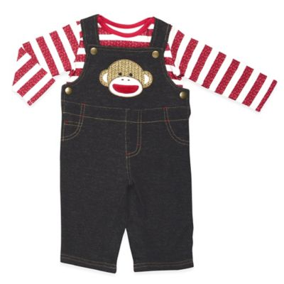Baby Starters® Sock Monkey Size 3M 2-Piece Overall and Long Sleeve T-Shirt Set in Denim/Red
