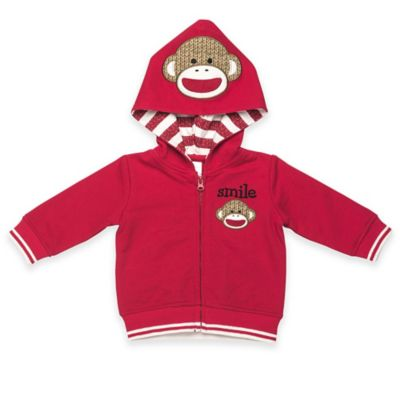 "Baby Starters® Size 3M Sock Monkey ""Smile"" Zip-Front Hoodie in Red"