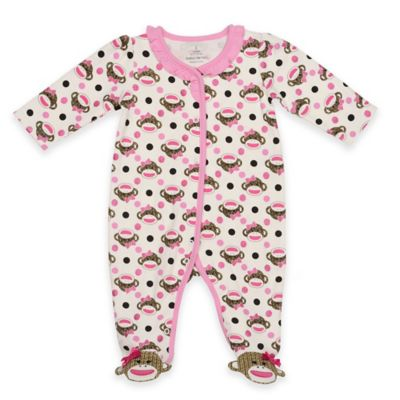 Baby Starters® Size 6M Sock Monkey Sleep n' Play in Ivory/Pink