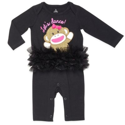 "Baby Starters® Sock Monkey Size 3M ""Let's Dance"" Tutu Footless Coverall in Black"