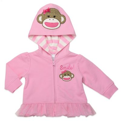 "Baby Starters® Sock Monkey Size 3M ""Smile"" Ruffled Zip-Front Hoodie in Pink"