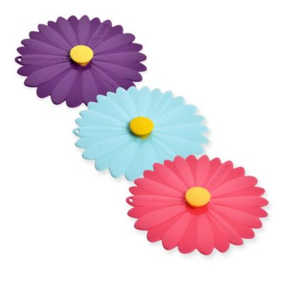 Charles Viancin® 8-Inch Daisy Lids in Pink (Set of 2)