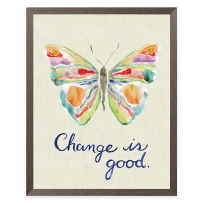 """Change is Good"" Butterfly Linen Framed Wall Art"