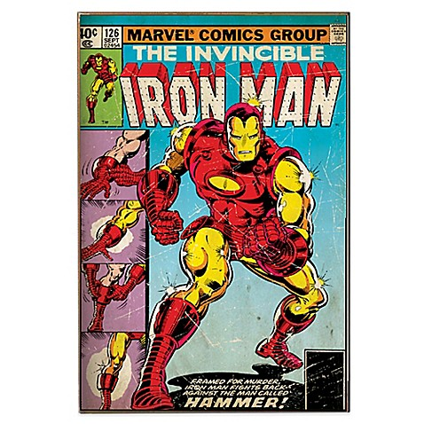 Buy iron man hammer marvel comic book cover wall d cor plaque from bed bath beyond - Marvel comics decor ...