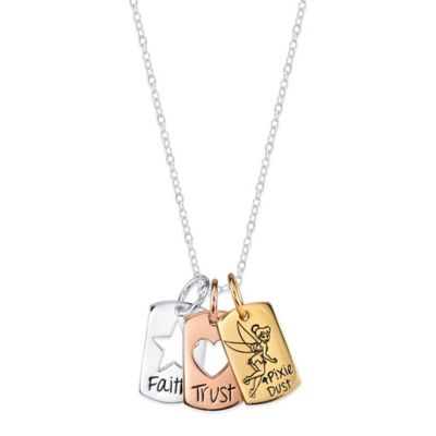 Disney® Tinkerbell Tri-Color Sterling Silver Faith, Trust & Pixie Dust Charm Pendant Necklace