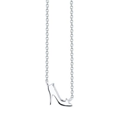Disney® Sterling Silver 18-Inch Chain Cinderella's Slipper Pendant Necklace