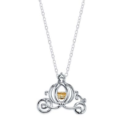 Disney® Cinderella Sterling Silver 10K Yellow Gold 18-Inch Chain Carriage Pendant Necklace