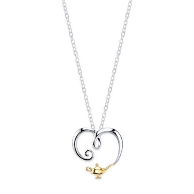 Disney® Aladdin Sterling Silver 10K Yellow Gold Wishes Come True Heart Pendant Necklace