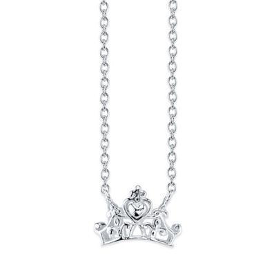 Disney® Sterling Silver 18-Inch Chain Princess Crown Pendant Necklace