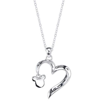 "Disney® Mickey Mouse Sterling Silver 18-Inch Chain ""If You Can Dream It"" Heart Pendant Necklace"
