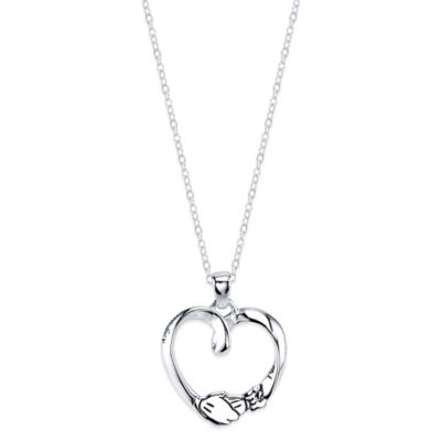 Disney® Mickey and Minnie Sterling Silver 18-Inch Chain Hand-in-Hand Pendant Necklace
