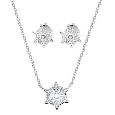 Disney® Frozen Sterling Silver Snowflake Pendant Necklace and Cubic Zirconia Earring Set