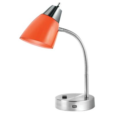 Studio 3B Dual Shade Desk Lamp with Bulb in Red/Orange