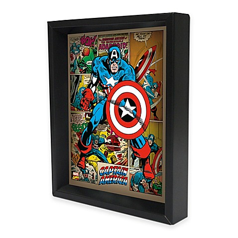 Marvel heroes captain america 3d lenticular wall art bed Captain america wall decor