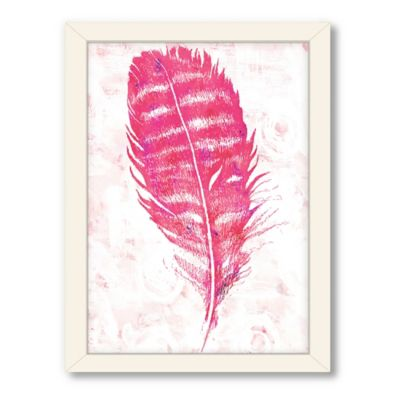 Americanflat Urban Road Collection Pink Feather Framed Leaf Print