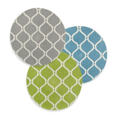 Sam Hedaya Neo Geo Round Cotton Placemat in Blue