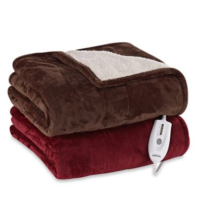 Therapedic® Reversible Silky Plush Heated Throw in Chocolate