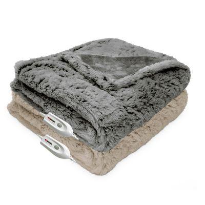Therapedic® Faux Fur Heated Throw in Grey