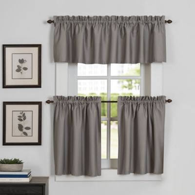 Newport 24-Inch Window Curtain Tier Pair in Grey