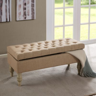 Madison Park Luxe Bench in Cream