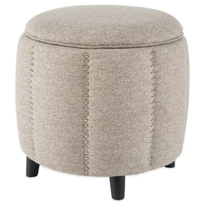 Madison Park Mason Ottoman in Grey