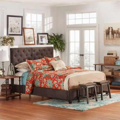 Verona Home Evelyn Tufted Full Bed in Dark Grey