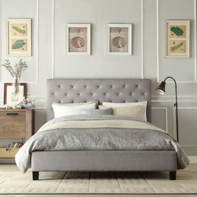 Verona Home Evelyn Tufted Platform Full Bed in Dark Grey