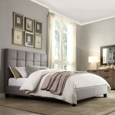 Verona Home Quinn Platform Queen Bed in Oatmeal