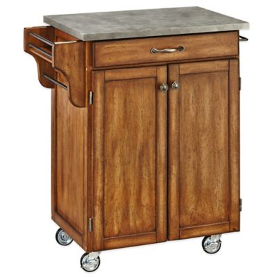 Home Styles Cuisine Cart with Concrete Top in Black