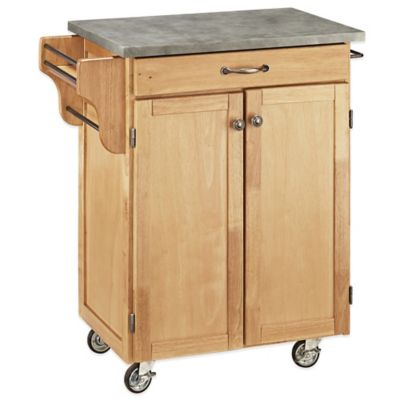 Home Styles Cuisine Cart with Concrete Top in Natural