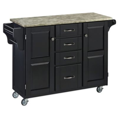 Home Styles Create-a-Cart with Concrete Top in Oak